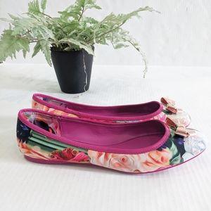 Ted Baker Imme 2 Pink Floral Ballet Flats 7.5